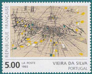 1993-Sc 2380-Abstract design by Marie Hélène Vieira da Silva (1909-1992), portuguese Painter