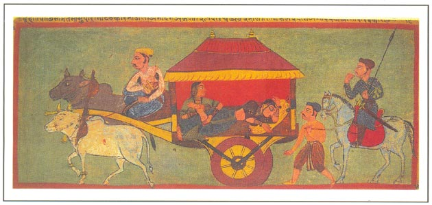 Rajasthani Paintings - A folio from the Dhola Maru love-legend of Rajasthan, Mewar, dated 1592 A.D., National Museum, New Delhi