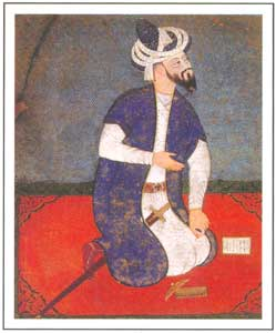 Mughal Miniature - Mughal Emperor Babur (1483-1530),  National Museum, New Delhi