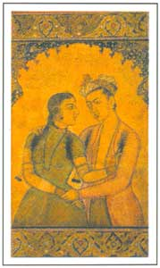 Mughal Miniature - Couple in Dalliance, circa 1630-35 AD,  National Museum, New Delhi