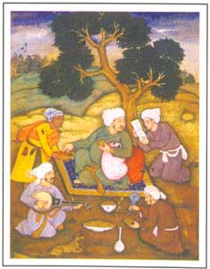 Mughal Miniature - Wine and Verses, circa 1620 AD, National Museum, New Delhi