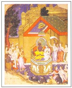 Mughal Miniature - Rama Durbar, Provential Mughal style, Orchha-Bundelkhand, circa 1600-1610 A.D., National Museum, New Delhi