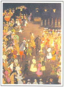 Mughal Miniature - The marriage procession of Dara Shikoh, Artist: Haji Madani, Oudh, circa 1740 A.D., National Museum, New Delhi