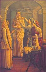 Raja Ravi Varma (1848 - 1906) -  Decking the Bride, Oil on Canvas, H.H. The Maharaja of Travancore, Kaudiar Palace, Thiruvananthapuram