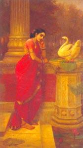 Raja Ravi Varma (1848 - 1906) - Hansa_Damayanti, Sri Chitra Art Gallery, Thiruvananthapuram