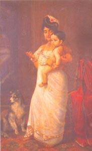 Raja Ravi Varma (1848 - 1906) - Here Comes Papa, H.H. The Maharaja of Travancore, Kaudiar Palace, Thiruvananthapuram