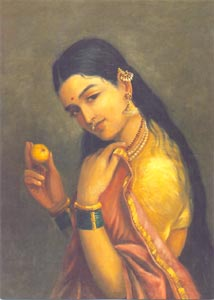 Raja Ravi Varma (1848 - 1906) - A Lady holding a Fruit, Oil on Canvas, National Gallery of Modern Art, New Delhi