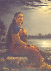 Raja Ravi Varma (1848 - 1906) - Lady in Moonlight, Oil on Canvas, National Gallery of Modern Art, New Delhi
