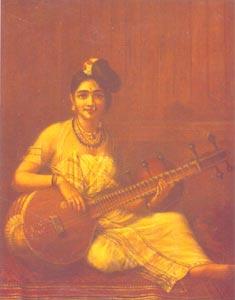 Raja Ravi Varma (1848 - 1906) -  Lady with Veena, H.H. The Maharaja of Travancore, Kaudiar Palace, Thiruvananthapuram