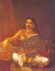 Raja Ravi Varma (1848 - 1906) - Lady with Veena, Sri Chitra Art Gallery, Thiruvananthapuram