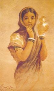 Raja Ravi Varma (1848 - 1906) - Milk Maid, Water Colour on Paper, Sri Chitra Art Gallery, Thiruvananthapuram