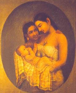 Raja Ravi Varma (1848 - 1906) - Mother and Child, Oil on Canvas, Kaudiar Palace, Thiruvananthapuram