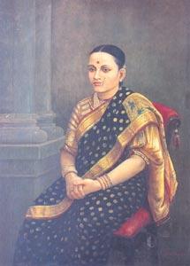 Raja Ravi Varma (1848 - 1906) - Portait of a Lady,1893, Oil on Canvas, 86.3 x 120 cm, National Gallery of Modern Art, New Delhi