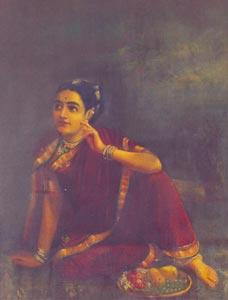 Raja Ravi Varma (1848 - 1906) - Radha waiting for Krishna, Oil on Canvas, Collection of Ms Sara Abraham and Ms Mariam Ram, Chennai