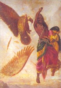 Raja Ravi Varma (1848 - 1906) - Ravana, Sita and Jatayu, Sri Chitra Art Gallery, Thiruvananthapuram