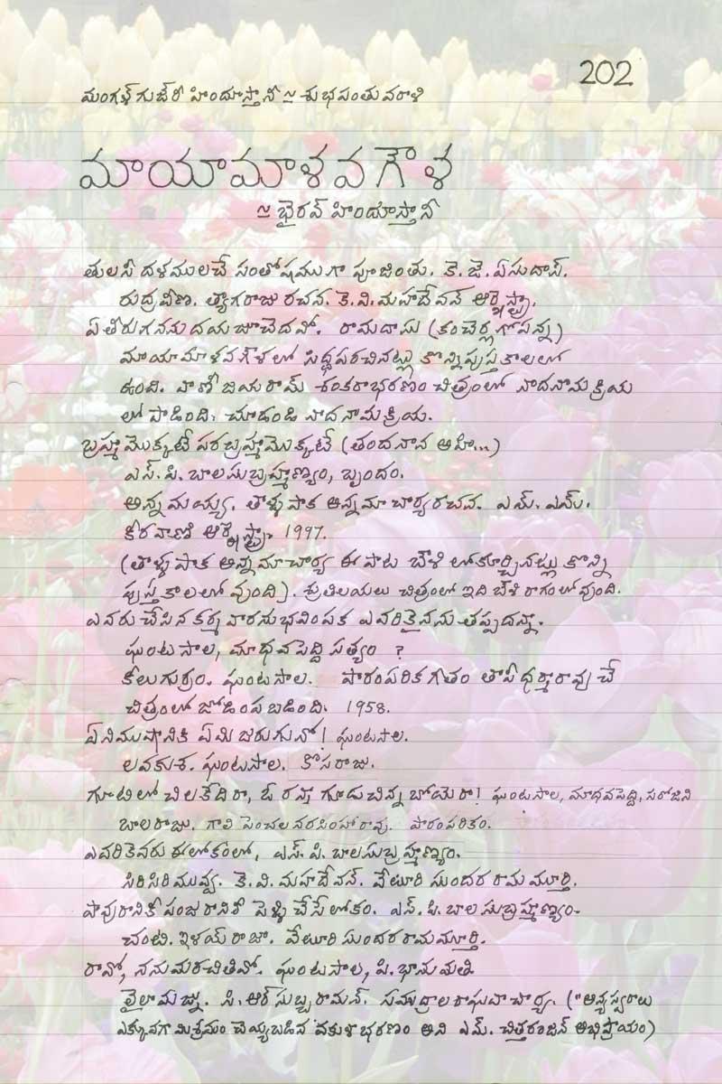Raga-based Telugu Film Songs - Raga Mayamalava Gowla